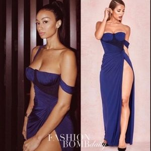 House of CB Charmaine Gown Maxi Dress XS Blue